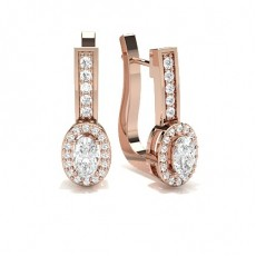 Oval Rose Gold Hoops Earrings