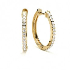 Round Yellow Gold Hoop Earrings