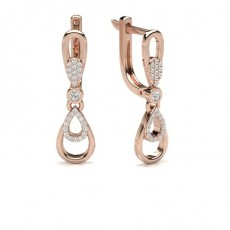 Round Rose Gold Hoop Diamond Earrings