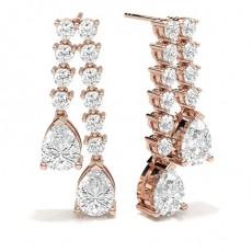 Pear Rose Gold Cluster Earrings