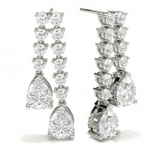 Pear Platinum Cluster Earrings