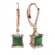 Princess Rose Gold Gemstone Diamond Earrings