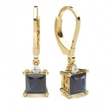 Princess Yellow Gold Gemstone Diamond Earrings