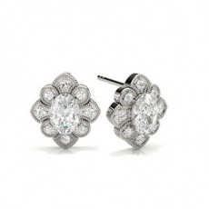 Oval Platinum Cluster Diamond Earrings
