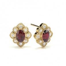 Oval Yellow Gold Gemstone Earrings