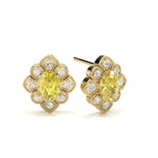Oval Yellow Gold Cluster Diamond Earrings