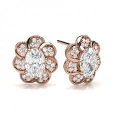 Oval Rose Gold Cluster Earrings