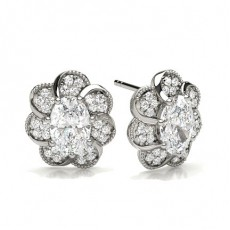 Oval Silver Cluster Diamond Earrings