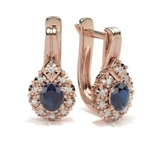 Oval Rose Gold Gemstone Earrings