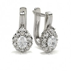 Oval White Gold Hoop Diamond Earrings