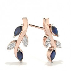 Round Rose Gold Gemstone Diamond Earrings