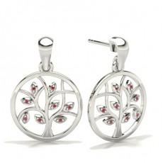Round Silver Gemstone Earrings