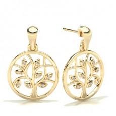 Round Yellow Gold Designer Diamond Earrings