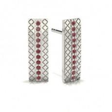 Round Platinum Gemstone Earrings