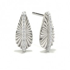 Round White Gold Designer Earrings