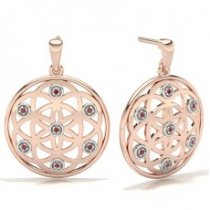 Round Rose Gold Gemstone Earrings