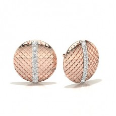 Round Rose Gold Designer Diamond Earrings
