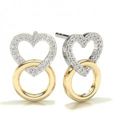 Round Yellow Gold Designer Earrings