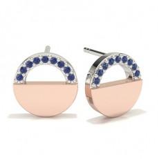 Round Rose Gold Gemstone Diamond Earrings