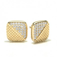 Round Yellow Gold Designer Earrings