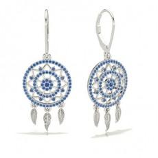 Pave Setting BlueSapphire Designer Earrings