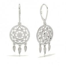 Round White Gold Designer Earrings