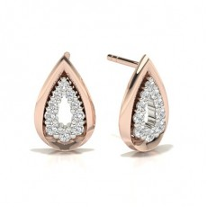 Round Rose Gold Designer Earrings
