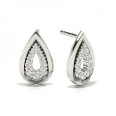Round Platinum Designer Earrings