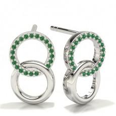 Pave Setting Designer Emerald Earrings