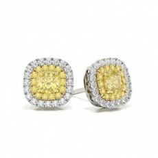 White Gold Yellow Diamond Halo Earring