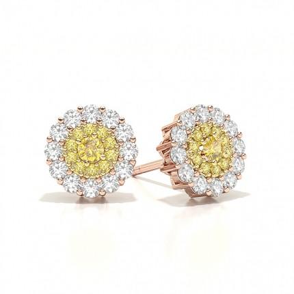 Yellow Diamond Cluster Halo Stud Earring