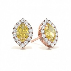 Marquise Rose Gold Yellow Diamond Earrings