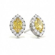 Marquise Platinum Yellow Diamond Earrings