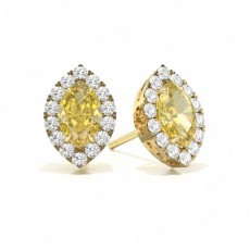 Marquise Yellow Gold Halo Earring