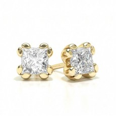 Princess Yellow Gold Designer Earrings