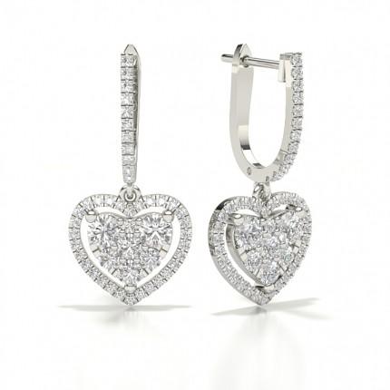 Cluster Hoop Diamond Earrings