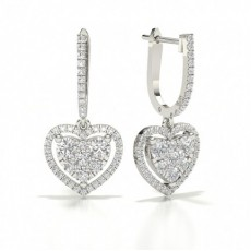 Cluster Hoop Diamond Earrings