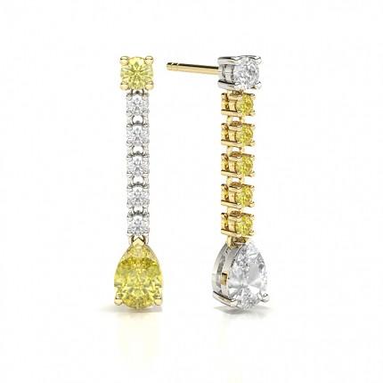 Pear Yellow Diamond Journey Earrings