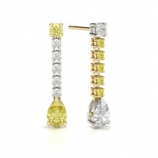 Pear Yellow Diamond Journey Earrings