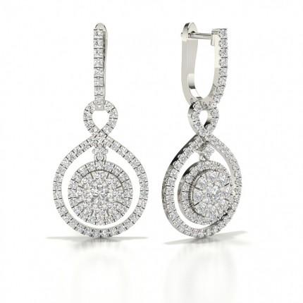Diamond Cluster Hoop Earring