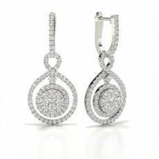 Round Platinum Hoop Diamond Earrings
