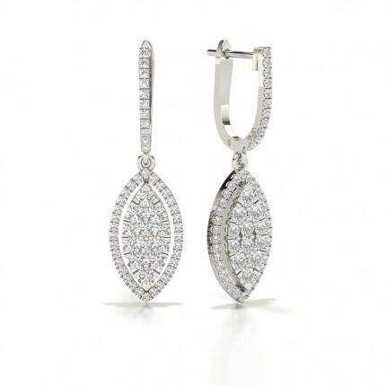 Prong Cluster Diamond Hoop Earrings