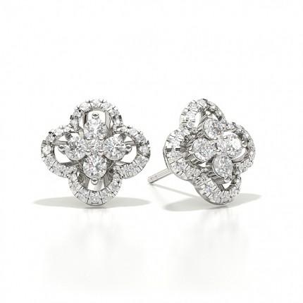 White Diamond Cluster Earring
