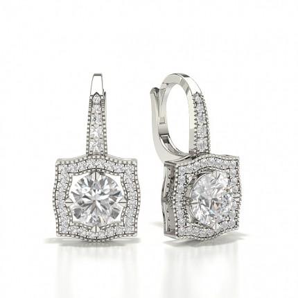 Round Diamond 4 Prong Hoop Earrings