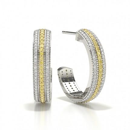 Pave Set Yellow Diamond Designer Earring