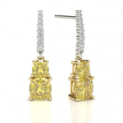 2 stone Yellow Diamond Designer Earring