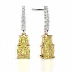2 stone Yellow Diamond Designer Earring
