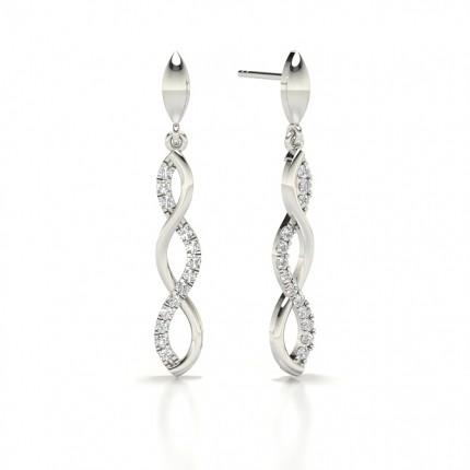 Prong cross Round Diamond Designer Earrings