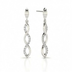 Prong cross Round Diamond Designer Earrings
