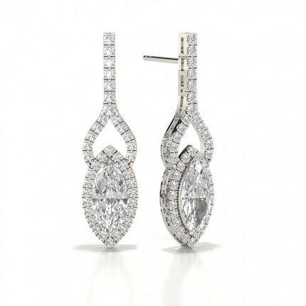 Prong Marquise Diamond Designer Earrings